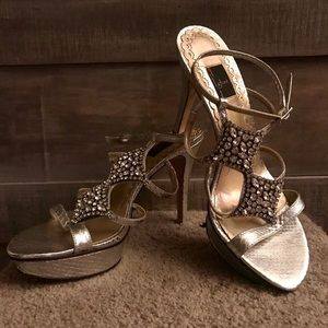 Glint Silver Snake Heels With Rhinestones 9M